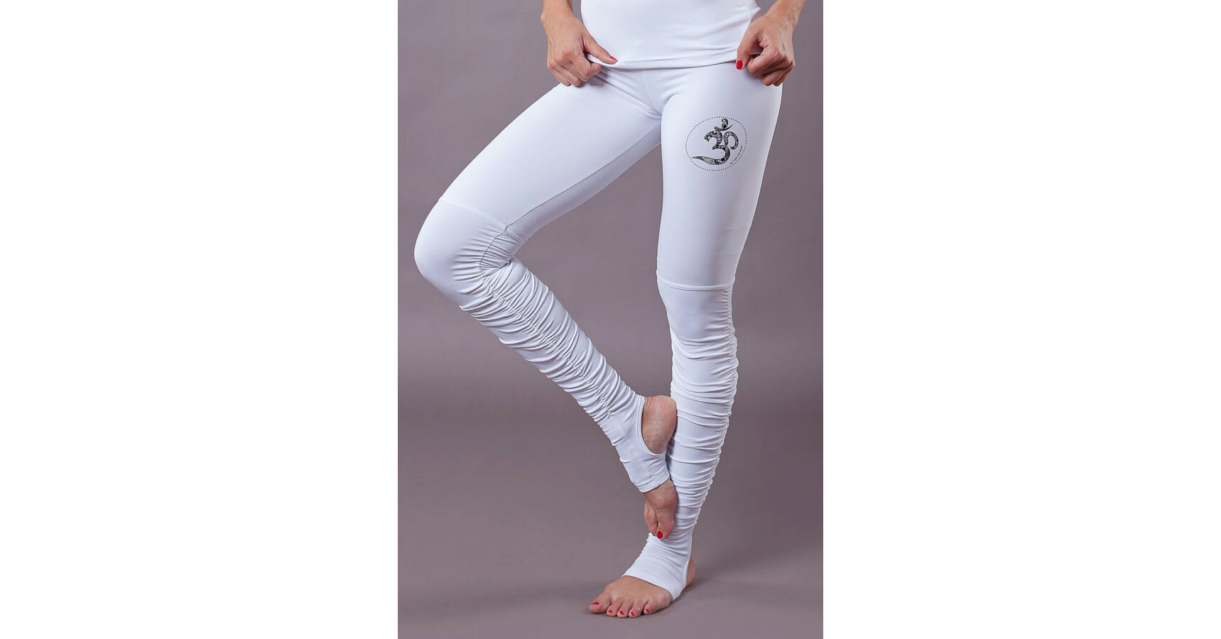 harmonious colors detailing sale usa online White OM Yoga Pants Foot Warmers – Indi-Go