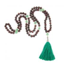 Mala Rosewood and Green stone - Bodhi