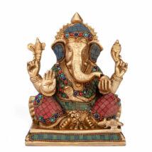 Ganesh réz szobor, többszínű, 20cm - Bodhi