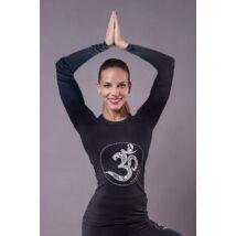 White OM Long-Sleeved Yoga Top
