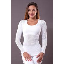White Vichy Long-Sleeved Yoga Top