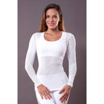 White Vichy Long-Sleeved Yoga Top – Indi-Go