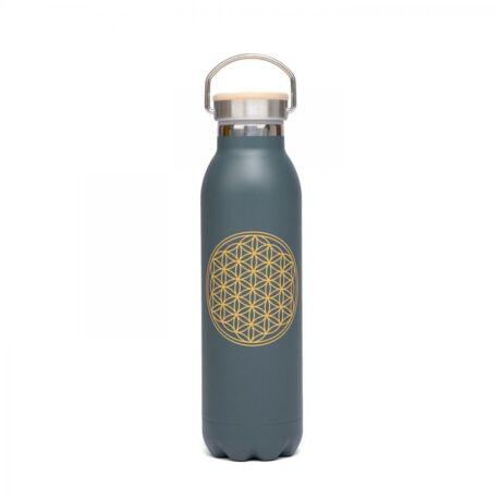 Flower of life Anthracite Stainless Steel Bottle 600 ml - Bodhi