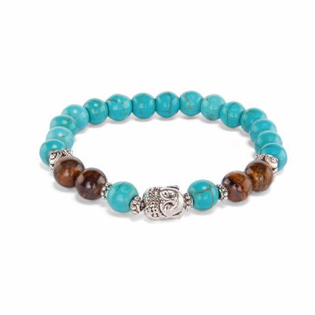 Tigereye and Turquoise wrist mala bracelet - Bodhi