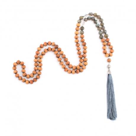Mala Wood with sandal wood scent and Labradorite - Bodhi