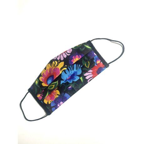 Textil, mosható, 2 rétegű szájmaszk - Fekete virágos