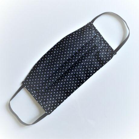 Textil, mosható, 2 rétegű szájmaszk - Fekete pöttyös