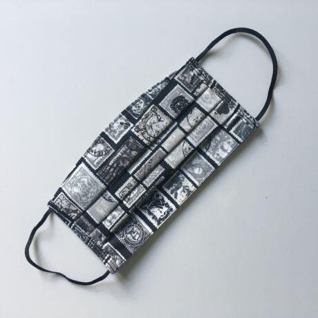 Textil, mosható, 2 rétegű szájmaszk - Bélyeg mintás