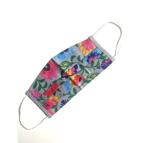 Textil, mosható, 2 rétegű szájmaszk - Szürke virágos