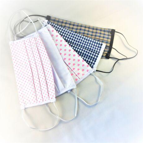 Textil, mosható, 2 rétegű szájmaszk - Kék kockás