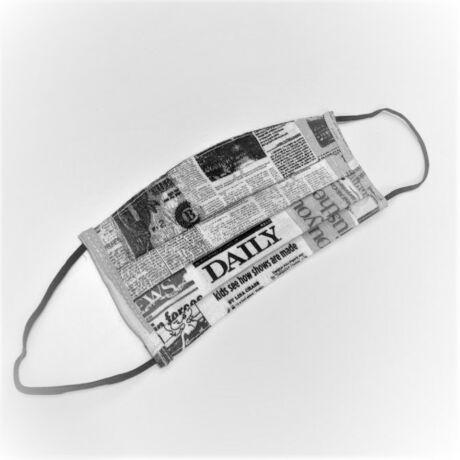 Textil, mosható, 2 rétegű szájmaszk - Újság mintás
