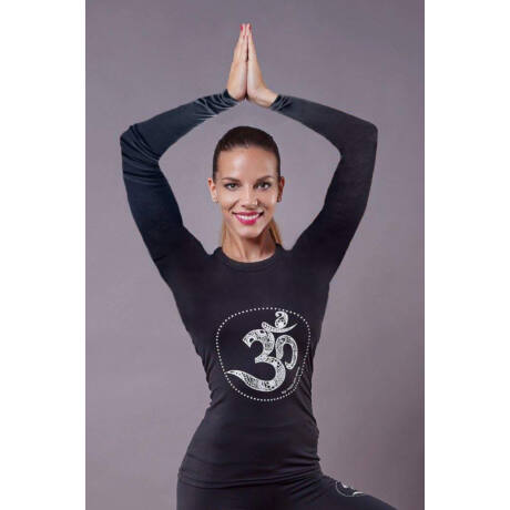 Black OM Long-Sleeved Yoga Top