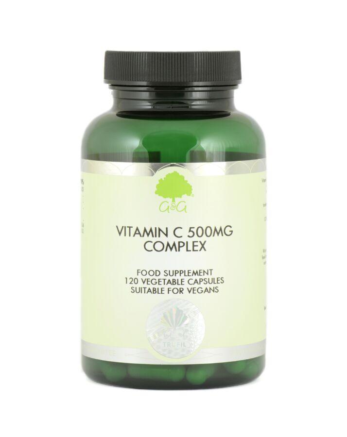C-vitamin 500mg csipkebogyóval és acerolával 120 kapszula – G&G